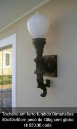 Arandela lustre luminária aplique tocheiro ferro fundido
