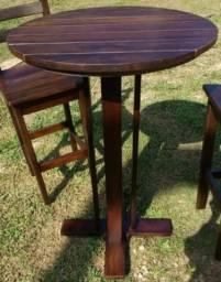 Mesas e Banquetas Bistrô (madeira de lei)