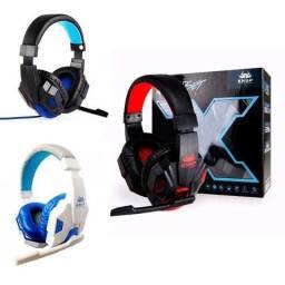 Fone Headset Gamer C/ Led Microfone + Adaptador Celular 397 (Aceito Cartão)