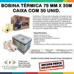 Bobina Térmica 79 mm x 30m - Caixa com 30 Unid. Pronta Entrega