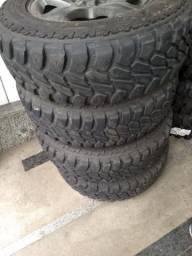 4 pneus mud 225-75-16 rodas tr4 2009