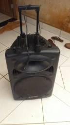 Caixa de som amplificadoura com 2 mic