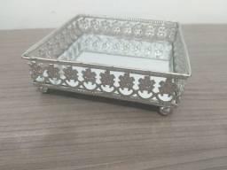 Bandeja Prata em metal com espelho