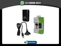 Bateria Para Controle Xbox 360 Com Cabo E Carregador Preto, usado comprar usado  Recife
