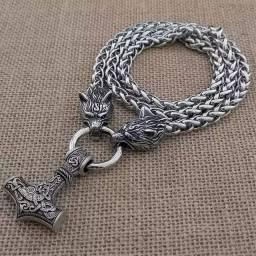 Colar viking nórdico Thor mjonir Wolf fenrir aço inoxidável