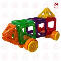 24 peças de blocos magnéticos