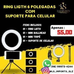 Ring Light 6 Polegadas com suporte para celular