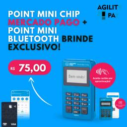Máquina de Cartão Point Mini Chip Mercado Pago, Com 4G e Wifi, Brinde Point Mini D150