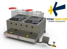 Fritador retangular 10L a óleo 2 cestos a gás
