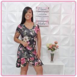 Vestido Manguinha com babado e bojo. De R$70,00 por R$50,00.