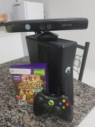 Xbox 360 + 1 Kinect +1controle e 1 jogo