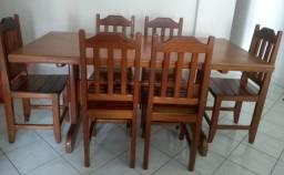 Vendo mesa de madeira com 6 lugares ou troco por TV
