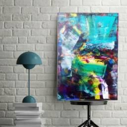 Arte Quadro Pintura abstrata em Tela 40x60cm espátula c/ acrílica