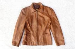 Jaqueta de couro legítimo feminino tam P