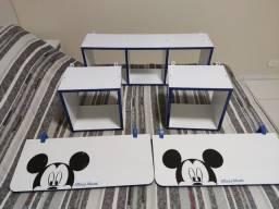 Título do anúncio: Nichos quarto de bebê, kit com 5 nichos e 2 prateleiras