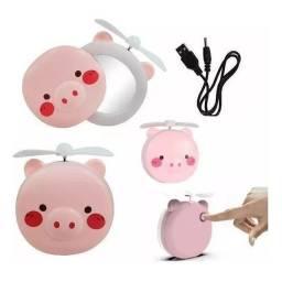 Espelho de porquinho com com ventilador e led