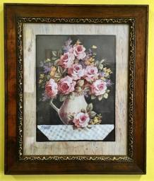 Gravura Floral em Moldura com Vidro (usada)