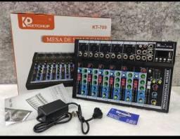 Título do anúncio: Mesa Som ketchup 7 Canais Bluetooth Usb Com Equalizador kt-709<br>