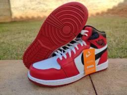 Tênis Bota Nike Cano Alto Air Jordan 1 - Vermelho/Branco - Super Promoção