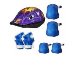 Kit capacete infantil 3-10 anos - bike, skate, patinação