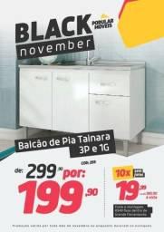 Black Friday!! Balcão de Pia Tainara 3p 1G Branco