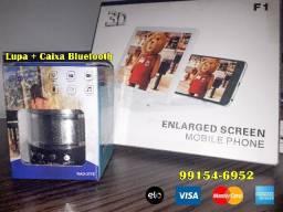 Kit Lupa Ampliadora de celular + Caixa de som Bluetooth, verdadeiro cinema!