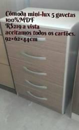 Vendo Cômodas 100% MDF 5 gavetas com corrediças metálicas