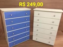 Cômodas em MDF em várias cores com preço a partir de R$ 200 a R$ 300 reais