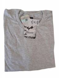 Camiseta Masculina Barata Cinza Lisa Básica Em Promoção