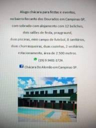 Alugo chácara para festa  em Campinas SP. (19) 9. *.