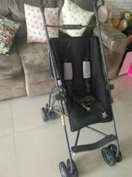 Carrinho de Passeio Para Bebês Galzerano Capri Preto/Cinza com freio