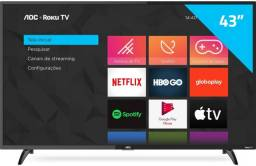 Smart TV Aoc Roku LED 43'' 43S5195/78 com Wi-fi, FullHD, Entradas HDMI e USB