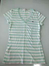 Camiseta Lacoste gola em V listrada verde menta e branca