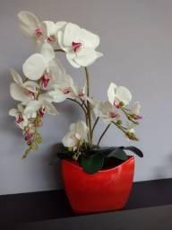 Título do anúncio: Vaso vermelho com orquídias