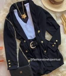 Blazer casaco alfaiataria preto e pink botoes dourados. aceito cartões