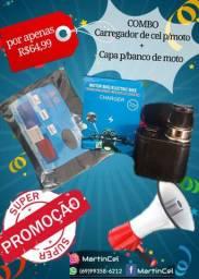 Combo capa p/ banco de moto + carregador de Cel p/moto