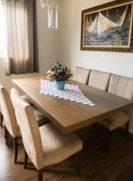 Título do anúncio: Mesa de jantar de madeira com 6 cadeiras estofadas