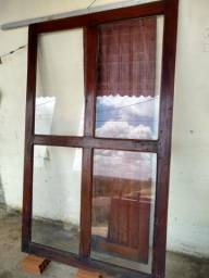 Porta de madeira MASSARANDUBA com vidro