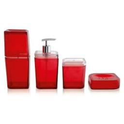 Conjunto de banheiro Pétala Ou 4 peças vermelho cereja