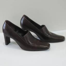 Sapato De Couro Maria Bonita 36 Marrom Bico Quadrado