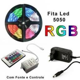 Fita Led 5 Metros Color c/ Controle e Fonte Nova (Loja Física)