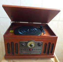 Toca-discos CTX Classic 4 em 1 Rádio AM/FM, K7, CD Player