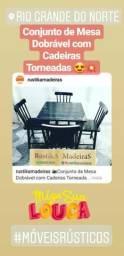 Mesas e Cadeiras Torneadas em Madeira Maciça