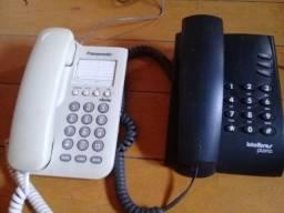 Aparelhos telefone fixo, marca Panasonic e Intelbras.