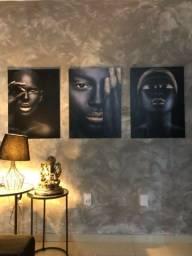Título do anúncio: Trio de quadros Negras luxo.