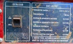 GERADOR DE ENERGIA,  220/127v, 6.5KVA..
