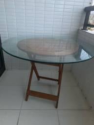 Título do anúncio: Mesa de madeira com tampo de vidro
