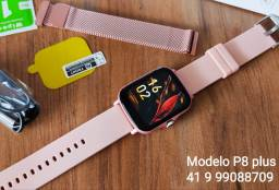 Relógio inteligente smartwatch P8 plus com pulseira de metal de brinde