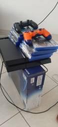 Título do anúncio: Playstation 4 - 55 Jogos, 2 controles, cooler de resfriamento