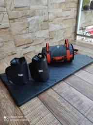 Caneleiras,Sand bag,colchonete,Roda p abdominal,Escada de agilidade,Elástico,Tipoia